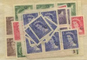 Canada - 1953 QE Karsh Ovpt. G Set of 5 mint X 12 sets