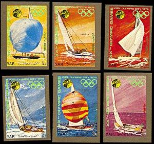 Yemen Michel 1433-1438, MNH imperf., Munich Summer Olympics Sailing