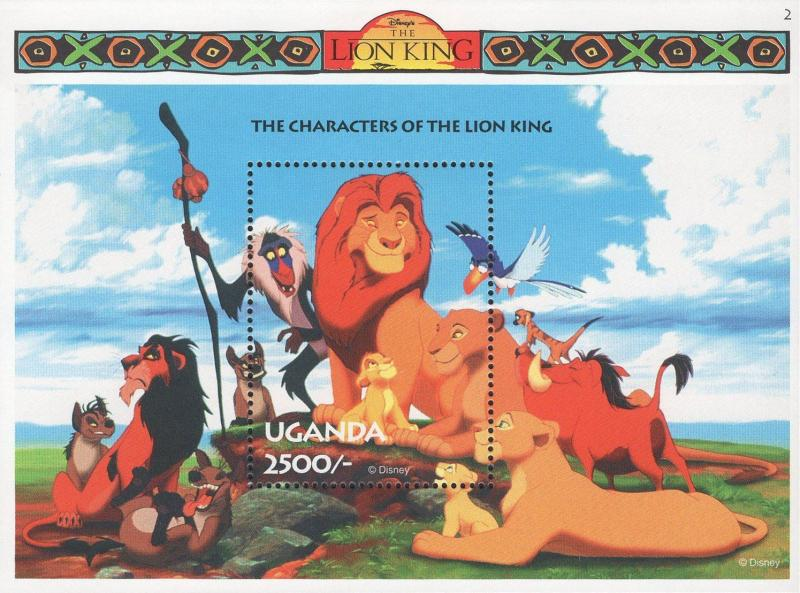 Uganda The Characters Of The Lion King Souvenir Sheet Mint NH