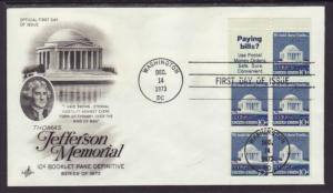 US 1510b Jefferson Memorial Booklet Pane Artcraft U/A FDC