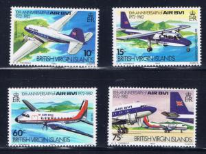 Virgin Is 434-37 MNH 1982 Airplanes