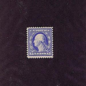 SC# 340 UNUSED ORIGINAL GUM MINT NH 15 CENT WASHINGTON, 1909, FINE-VERY FINE
