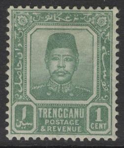 MALAYA TRENGGANU SG1a 1910 1c GREEN MTD MINT