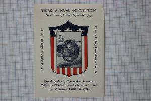 USCS patriotic Navy Turtle Submarine 1776 David Bushnell ad label 1939 NH CT