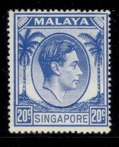 SINGAPORE GVI SG24a, 20c bright blue, M MINT. Cat £13.