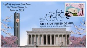 2015, Gifts of Friendship, Tokyo Clock Tower , Lincoln Memorial, BW FDC, 15-117