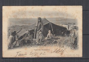 TUNISIA, 1902 ppc. Kroumirs Tent, 5c. Tunis to Austria.