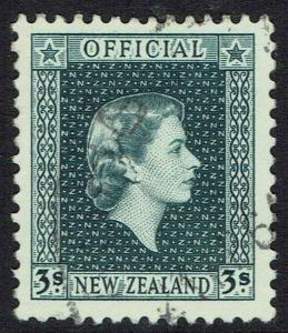 NEW ZEALAND 1954 QEII OFFICIAL 3/- USED TOP VALUE