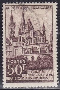 France 674 USED 1951 Abbey of Man 50Fr