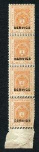 Bhopal SGO313c 1932 1/4a Orange Perf 13.5 DOUBLE PERF STRIP (no gum)