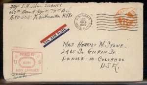 USA WWII APO Airmail Military Mail Cover 93815