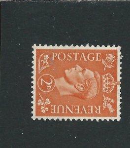 GB-KG6 1941-42 2d PALE ORANGE WATERMARK SIDEWAYS MNH SG 488a CAT £28