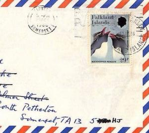 SS217 1986 FALKLAND ISLANDS Commercial Air Mail PENGUINS Cover FARMING Somerset