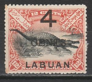 LABUAN 1899 LARGE 4 CENTS OVERPRINTED CROCODILE 12C PERF 13.5