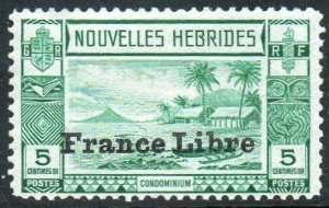 New Hebrides (French) 1941 5c green with 'France Libre' ovpt MH