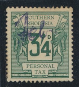 Southern Rhodesia Personal tax stamp  initaled spacefiller Used   1964  SC# 9...