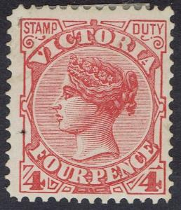 VICTORIA 1899 QV STAMP DUTY 4D WMK V/CROWN SG W85