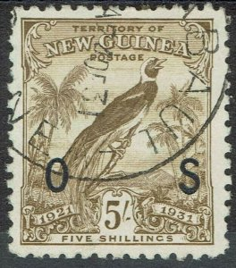 NEW GUINEA 1931 DATED BIRD OS 5/- USED WITH CERTIFICATE