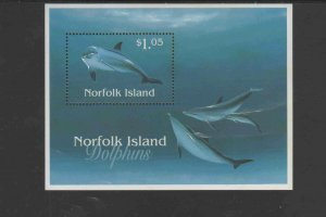 NORFOLK ISLAND #623  1997  DOLPHINS    MINT  VF NH  O.G   S/S