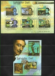 #8245 MOZAMBIQUE 2011 ART PAINTING SALVADOR DALI MS+S/S YV3890-5 BL417 MNH