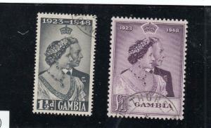 GAMBIA # 146-147 VF- 1948 SILVER WEDDING XLU CANCEL CAT VALUE $26+