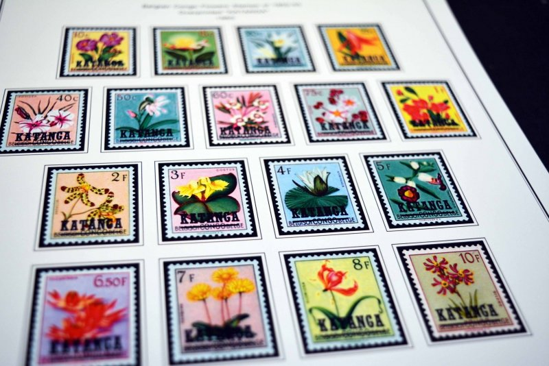 COLOR PRINTED KATANGA 1960-1962 STAMP ALBUM PAGES (8 illustrated pages)