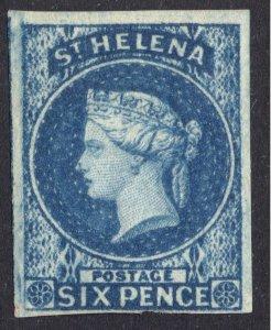 St Helena 1856 6d Blue SG 1, Scott 1, VLMM/MVLH Cat £500($790)