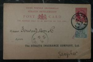 1894 Singapore Malaya Stationary Postcard Cover To Insurance Co In Zanzibar