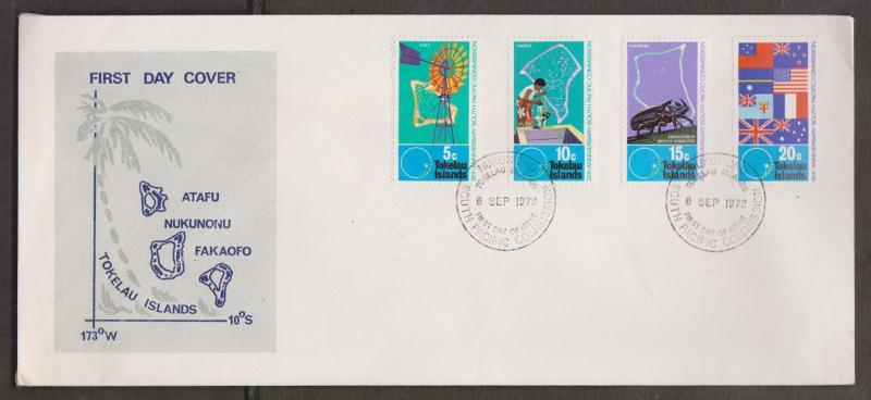 TOKELAU ISLANDS Scott # 33-6 FDC - 25th Anniversary South Pacific Commission # 1