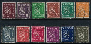 Finland #158/75 (12 stamps - the 1930 set)  CV $5.15