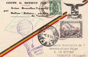 Belgium 1936 Royal Air Club Gord Bennett Balloon Souvenir Stamp Sheet-TEAR 45501