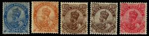 1913-26 India #99-103 King George V Wmk 39 - OGLH - VF - CV$24.50 (ESP#3844)