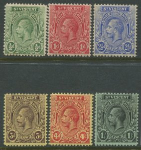 STAMP STATION PERTH St.Vincent #104,105,107-109,112- KGV Definitive  MLH CV$7.00