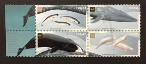 Canada 2000 #1871a Block of 4 W/Label, Cetaceans, Used.