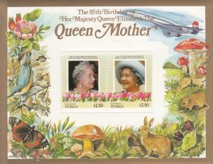 Tuvalu Nanumaga 1985 MNH Scott #51 Souvenir sheet of 2 $2.50 Queen Mother 85t...