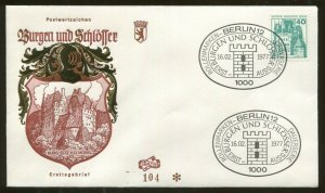 1977 Berlin Germany - Castles & Palaces - Burg Eltz A.D. Mosel - First Day Cover