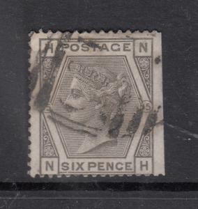 1873-80 6D GREY PLATE 15 COLOURED CORNER LETTERS USED