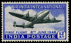 INDIA  SG304, 12a black & ultramarine, NH MINT.