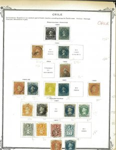 Chile 1853-1900 Mint & Used Hinged on 2 Old Scott Specialty Pages.