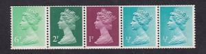 Great Britain  #MH58b  MNH  machin coil strip 1x1  2x1/2  1x6  1x2 p