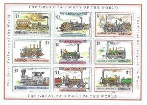 1991   GRENADA  -  SG.  MS  2322 / 2330  -  RAILWAYS OF THE WORLD  -  MNH
