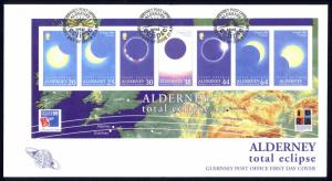 Alderney Sc# 133a FDC Souvenir Sheet 1999 Total Eclipse