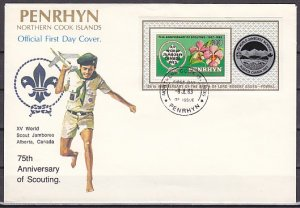 Penrhyn Is., Scott cat. 222. Canada Jamboree o/p s/sheet. First day cover. ^