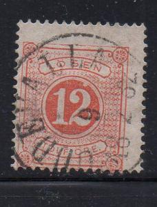 Sweden Sc J5 1874 12 ore postage due stamp used