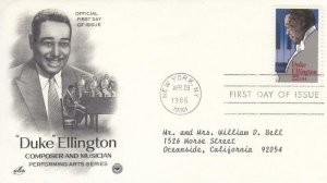 1986, Duke Ellington, Artcraft/PCS, FDC (E8168)
