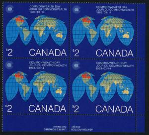 Canada 977 BR Plate Block MNH Map, Globe, Commonwealth Day