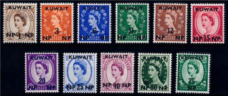 [68345] Kuwait 1957 QE II OVP on GB Stamp NP MLH