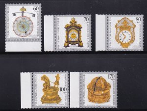 Germany  #B734-B738  MNH  1992   Relief funds  Antique Clocks