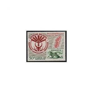 Malagasy C92,MNH.Michel 597. PHILEXAFRIQUE-1969.Herd of Zebus.Map of Madagascar.