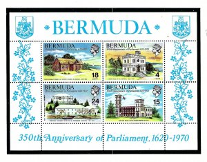 Bermuda 275a MNH 1970 350th Anniversary of Parliament S/S